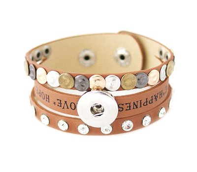 Clicks Sieraden Clicks armband leer cognac love hope happiness breed