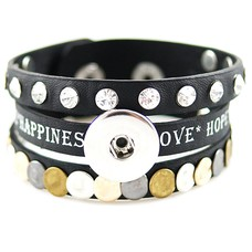 Clicks Sieraden Clicks armband leer zwart love hope happiness breed