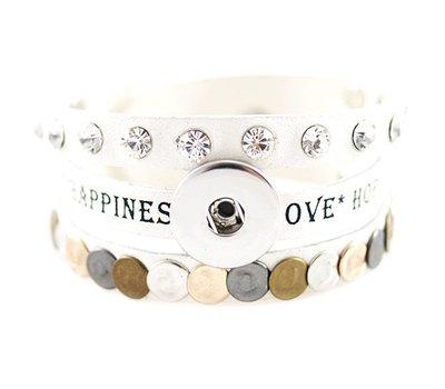 Clicks Sieraden Clicks armband leer wit love hope happiness breed