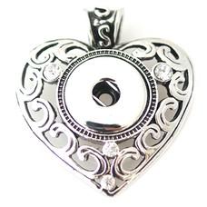 Clicks Sieraden Clicks hanger crystal vintage heart zilver