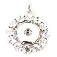 Clicks Sieraden Clicks hanger round big crystal zilver