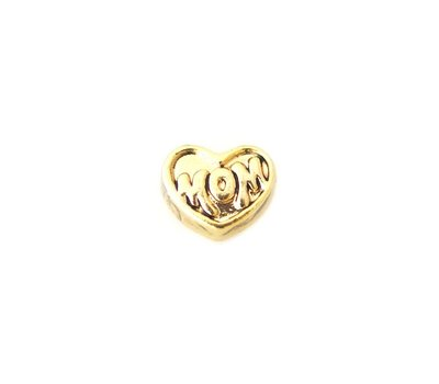Floating Charms Floating locket charm mom op hartje goud