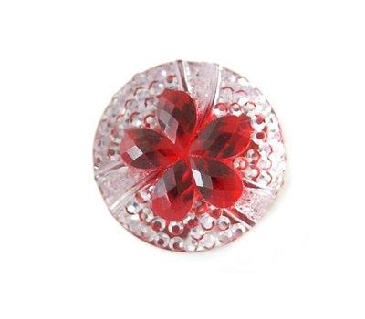 Clicks en Chunks | Click bloem rood met strass