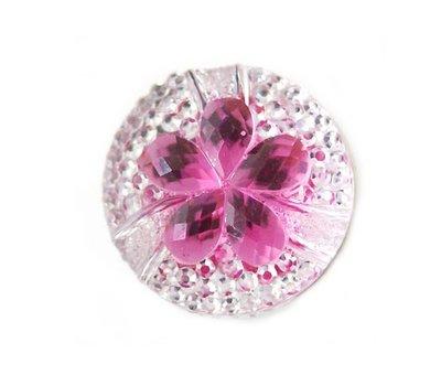 Clicks en Chunks | Click bloem roze met strass
