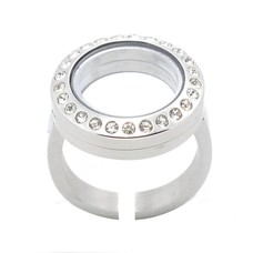 Floating locket Memory locket verstelbare ring met strass zilver