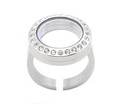 Floating memory lockets Memory locket verstelbare ring met strass zilver