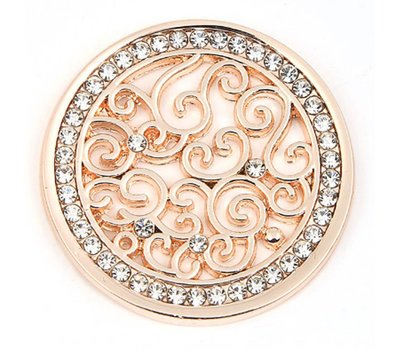 Munt voor Muntketting Indian vintage witte crystals rose goud