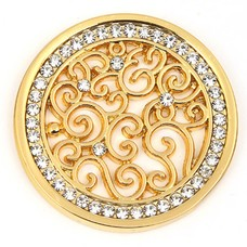 Munt voor Muntketting Indian vintage witte crystals goud