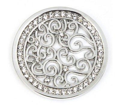 Munt voor Muntketting Indian vintage witte crystals zilver