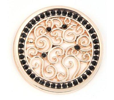 Munt voor Muntketting Indian vintage zwarte crystals rose goud