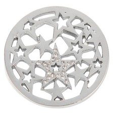 Munt voor Muntketting Sterren met crystals zilver
