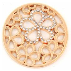 Munt voor Muntketting Bloemen met crystals goud