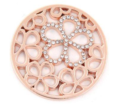 Munt voor Muntketting Bloemen met crystals rose goud