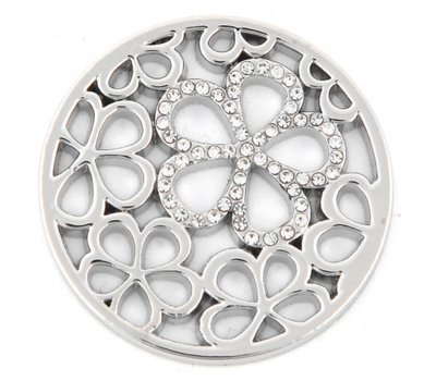 Munt voor Muntketting Bloemen met crystals zilver