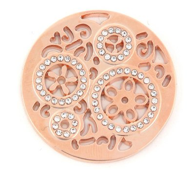 Munt voor Muntketting Wheels met crystals rose goud