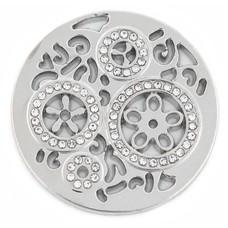 Munt voor Muntketting Wheels met crystals zilver