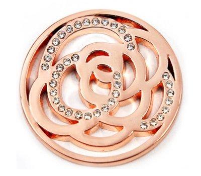 Munt voor Muntketting Twisting circles met crystals rose goud