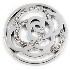 Munt voor Muntketting Twisting circles met crystals zilver