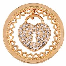 Munt voor Muntketting Heart key lock goud