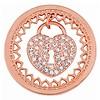 Munt voor Muntketting Heart key lock rose goud