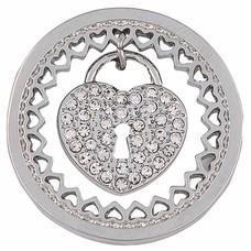 Munt voor Muntketting Heart key lock zilver
