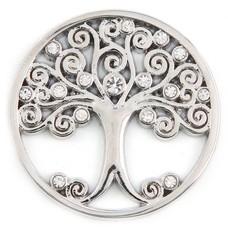 Munt voor Muntketting Levensboom witte crystals zilver