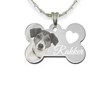 Graveer Sieraad Foto en of Tekst graveren op hanger hondenbot zilver inclusief ketting