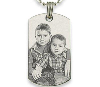 Graveer Ketting Foto en of tekst graveren op foto hanger dogtag zilver inclusief ketting
