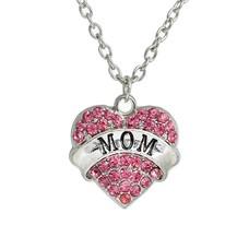 Moederdag cadeau Ketting met mom en roze crystals