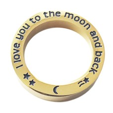Floating locket  discs Memory locket open disk i love you to the moon goud large