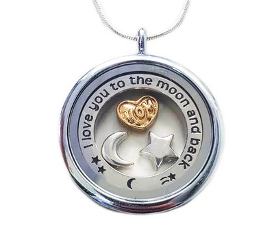 Moederdag cadeau Memory locket Ketting mom i love you to the moon