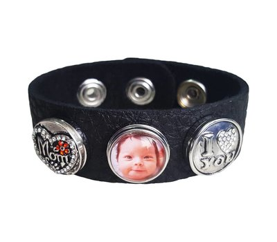Moederdag cadeau Clicks Foto armband zwart mom i love you