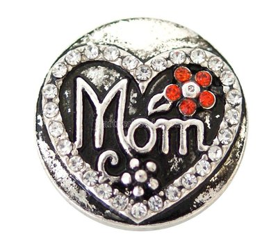 Clicks / Chunks Click Mom met strass zilver