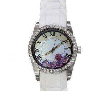 Floating locket Twist rvs zilveren memory locket horloge wit