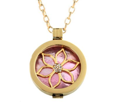 Complete Muntketting Pink Pearl Flower Goud