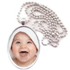 Ketting met foto Ketting met foto hanger ovaal zilver