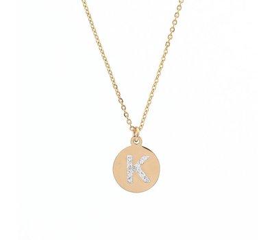 Ketting met letter Letter Ketting Crystal K goud van roestvrij staal.