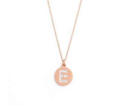Ketting met letter Letter Ketting Crystal E rose goud van roestvrij staal.