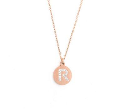 Ketting met letter Letter Ketting Crystal R rose goud van roestvrij staal.