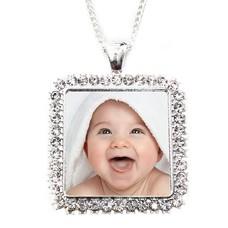 Ketting met foto Ketting met foto hanger vierkant crystals zilver