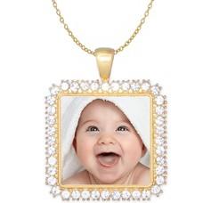 Ketting met foto Ketting met foto hanger vierkant crystals goud