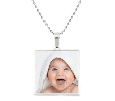 Ketting met foto Ketting met foto hanger vierkant zilver