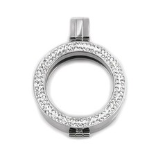 Hanger voor Muntketting Zilver smal sparkling Strass van Roestvrij Staal