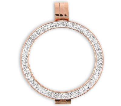 Hanger voor Muntketting Rose goud sparkling Strass van Roestvrij Staal