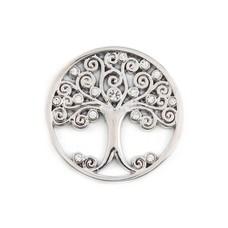 Munt voor Muntketting Levensboom smal witte crystals zilver