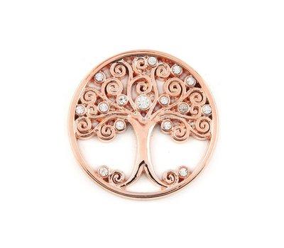 Munt voor Muntketting Levensboom smal witte crystals rose goud