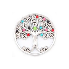 Munt voor Muntketting Levensboom smal multi color zilver