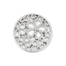 Munt voor Muntketting Bloemen smal met crystals zilver