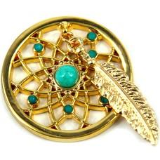Munt voor Muntketting Dromenvanger turquoise goud