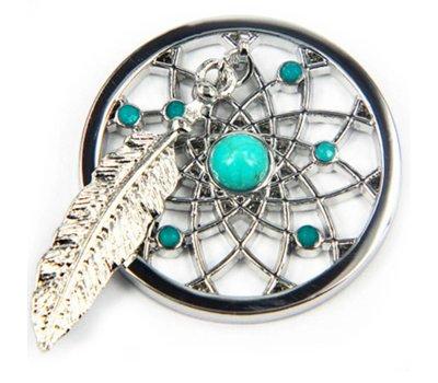 Munt voor Muntketting Dromenvanger turquoise zilver
